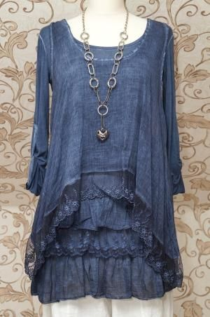 STUNNING BLUE 2PIECE TUNIC DRESS QUIRKY ITALIAN LAGENLOOK/LAYERING TOP ONE SIZE | eBay by sophie