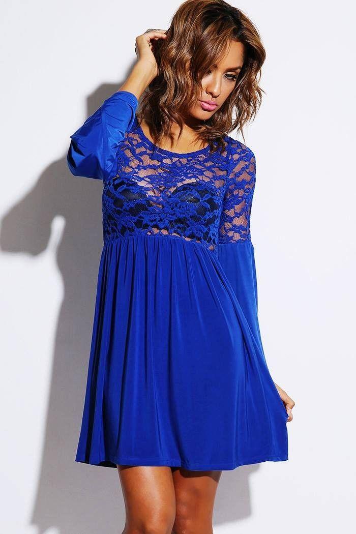 Royal Blue Sheer Lace Bell Sleeve Retro Party Skater Dress Tag: white skater dress