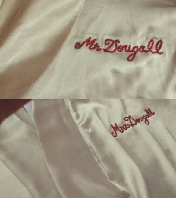 Perfect wedding gift! Matching silk robes for the bride and groom with a customised message.