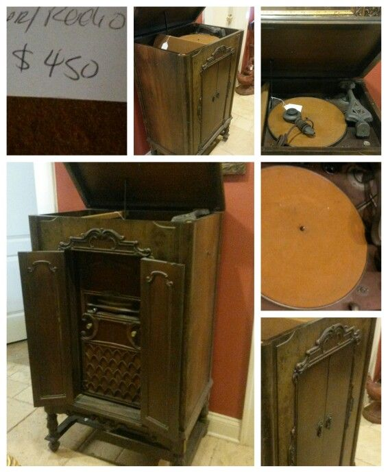vintage record player and tuned radio $450