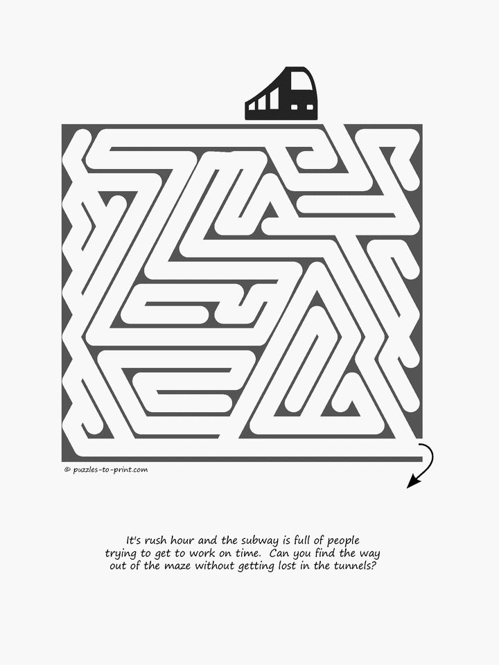 One of our easy printable mazes for kids, the subway rush hour will keep young puzzlers happily occupied.