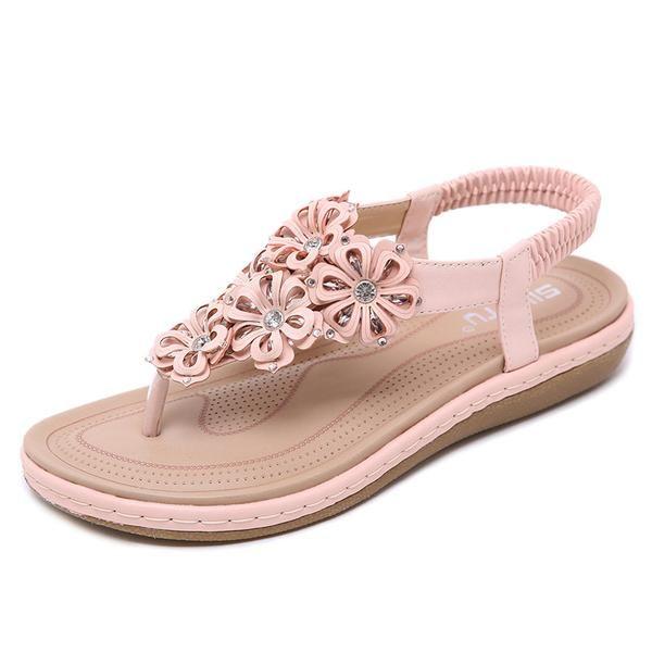 SIKETU Women Bohemian Rhinestone Comfort Soft Flat Summer Sandal Pump Shoe