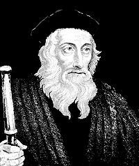 John Wycliffe-- (also spelled Wyclif, Wycliff, Wiclef, Wicliffe, Wickliffe; 1320-12/1384) was an English scholastic philosopher, theologian, Biblical translator, reformer, and seminary professor at Oxford. He was an influential dissident within the Roman Catholic priesthood during the 14th century.