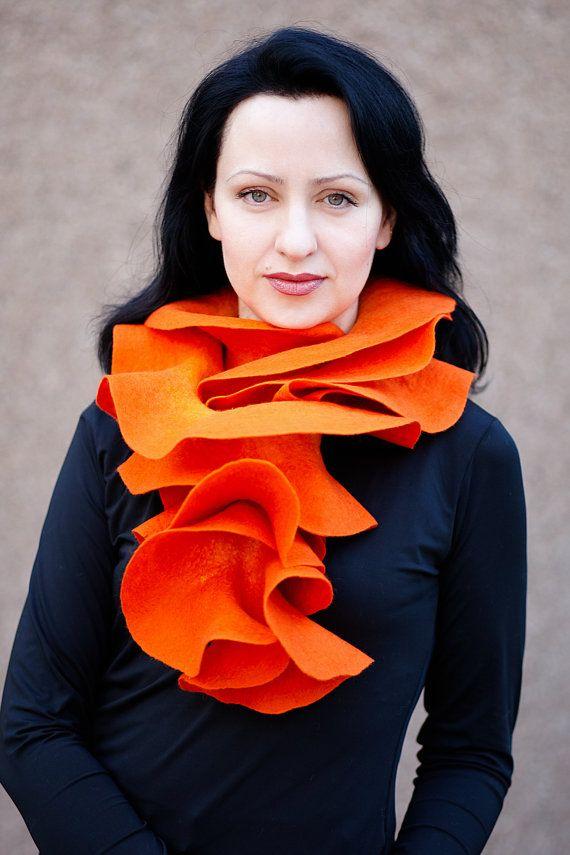 Handmade felted Orange Long ruffle scarf  Pumpkin por ProninA, $74.00 es maravilloso!!