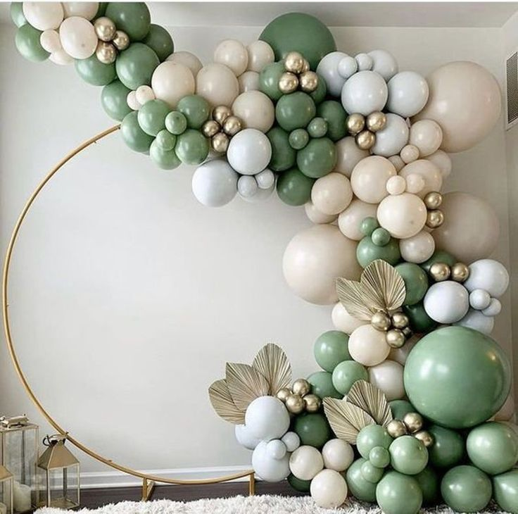 Birthday Party Wedding CYMYLAR 138Pcs Eucalyptus Balloons Sage green Balloons Garland Arch Kit Ivory White Cream White Gold Confetti Grad Retro Green and Gold Metallic Latex Balloons for Baby/&Bridal Shower Anniversary Party Olive Green