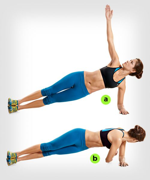 Plank: Core Workouts | Women's Health Magazine Lift your body into a side plank, and start with your right arm raised straight above you so that it's perpendicular to the floor (a). Reach under and behind your torso with your right hand, keeping your abs braced (b). Lift your arm back up to the starting position. That's 1 rep. Roll onto your other side, and repeat.