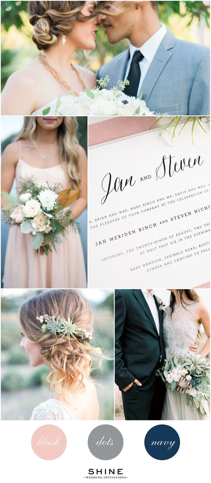 Rustic Romance Wedding Inspiration in blush, gray, and navy. Airplant flower crown, blush bridesmaids dress, succulent bouquet