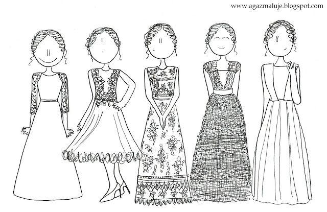 suknia ślubna, pani młoda, akwarela, szkic, agazmaluje, blog rysunkowy, rysunek, ilustracja