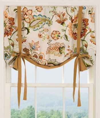 Jacobean Floral Lined Tie-Up Valance totally affordable, and looks quality and very unique. Southern charm at it's best, and a color palette to go with all rooms.
