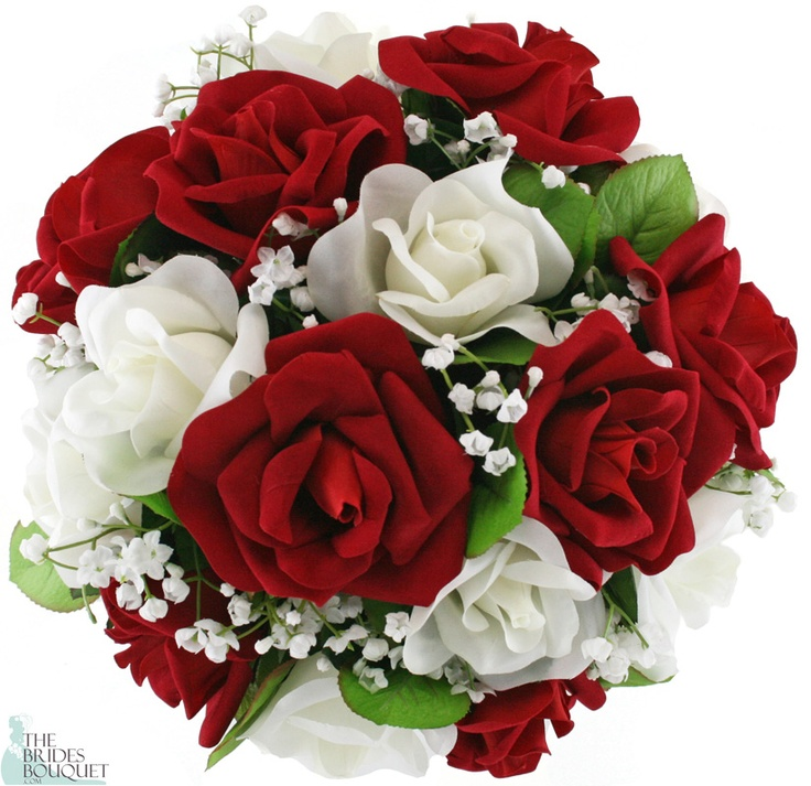 Red And Ivory Silk Rose Nosegay