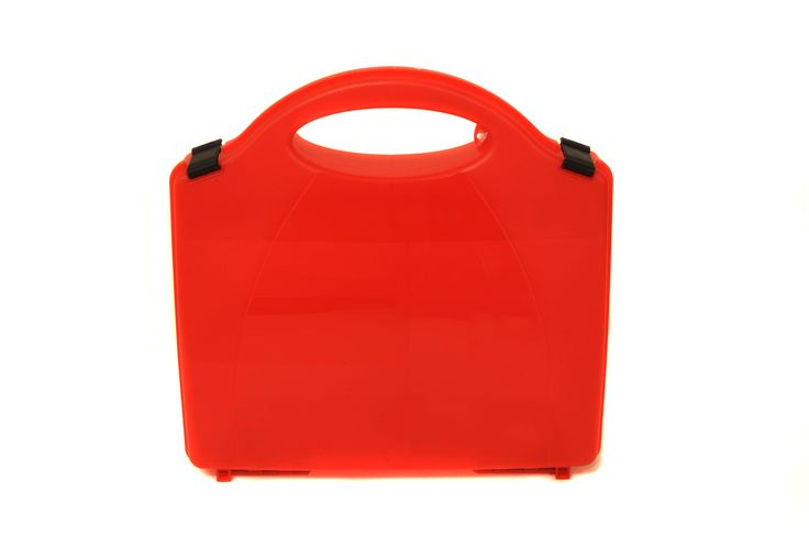 Premier Red First Aid box suitable for burns kits, polypropylene box with carrying handle and internal partitions, designed to protect the contents from dust and water penetration. Click to view