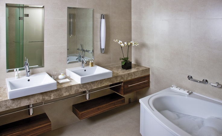 Monte Mulini Hotel in Rovinj, Croatia. All rooms have luxuriously appointed bathroom with two washbasins, bathtub, separate walk-in shower, hair dryer, bathrobes, slippers and high quality luxurious amenities. http://www.montemulinihotel.com
