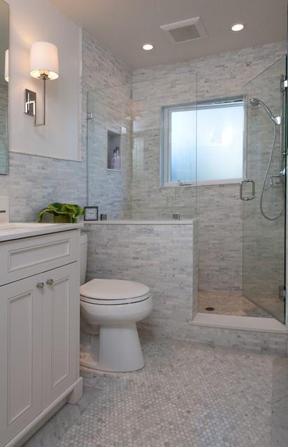 Like the half wall not the tile bathroom ideas pinterest grey tiles the o 39 jays and ps - Bathroom wall tile ideas for small bathrooms ...