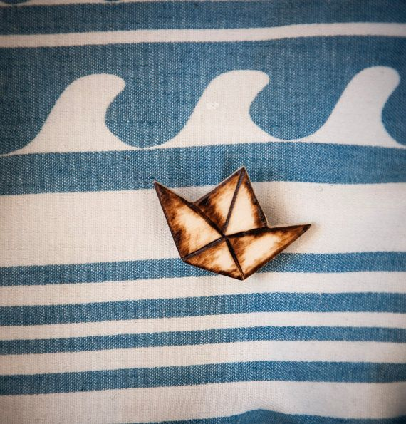 Brooch with wooden origami boat handmade paper by SilviaWithLove, €5.00