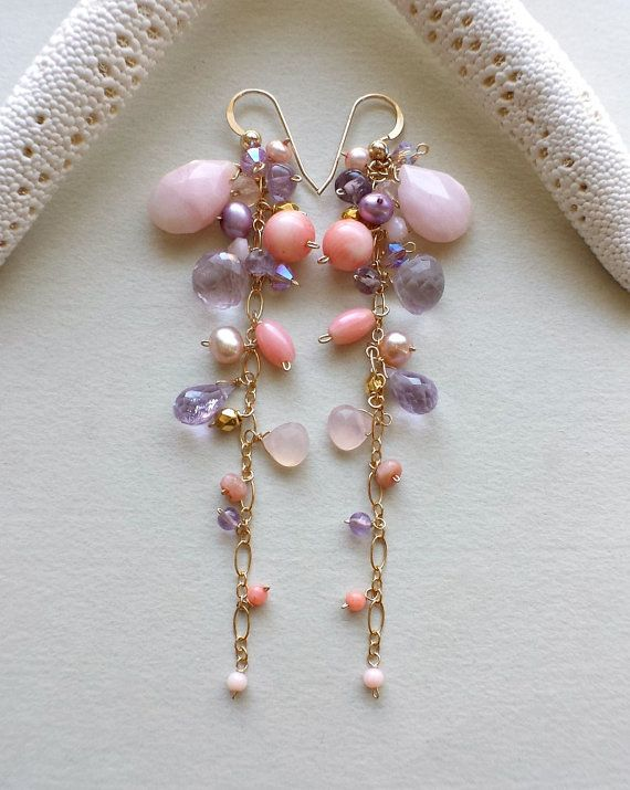Pink Purple Dangle Earrings Long Gemstone by BellaAnelaJewelry
