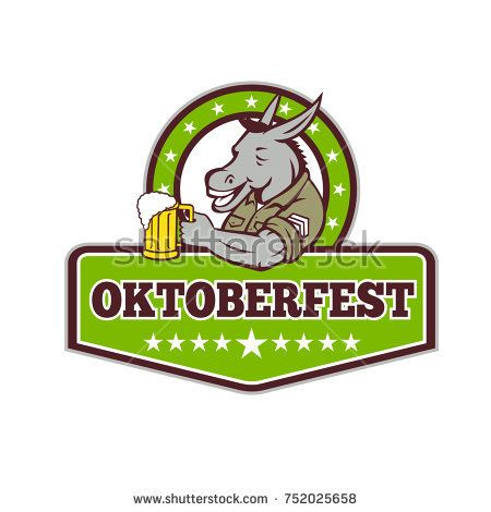 Retro style illustration of a donkey beer drinker wearing a sergeant military uniform holding a mug of beer ale set inside circle with words Oktoberfest on isolated background.  #oktoberfest #retro #illustration