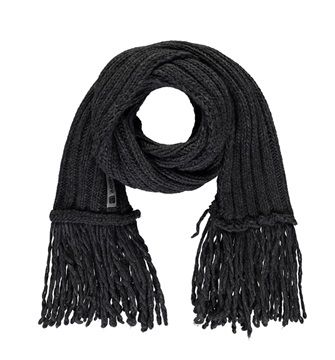 Sciarpa con frange finali misto lana antracite - Freddy