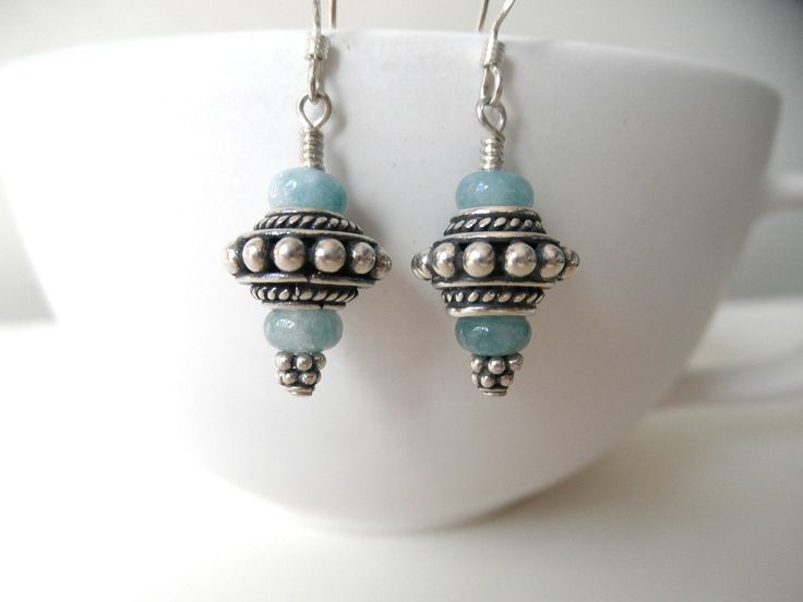 Earrings Pale Blue Angelite Sterling Silver Bali Bead. $40.00, via Etsy. try with tiger eye and gold