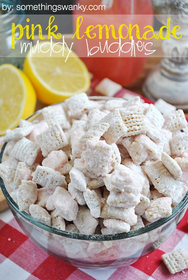 Pink #Lemonade Muddy Buddies are such a yummy #spring and #summert ime treat! www.somethingswanky.com