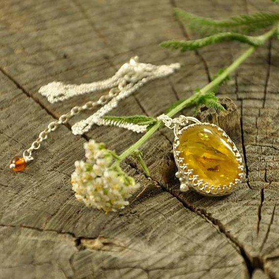 Upside down  Baltic amber insect necklace  sterling by Ankanate