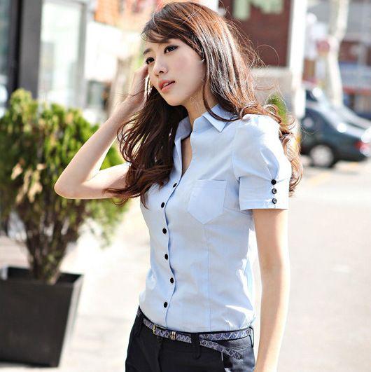 2016 mujeres del verano blusas delgado cuerpo se adapta a camisas formales Ol camisa de manga corta para mujeres Blusa blanca mujer blusas Blusa Tops