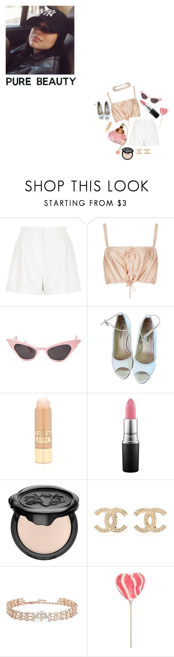 """""""same old sorry"""" by isobelle206 ❤ liked on Polyvore featuring River Island, Topshop, Repetto, L.A. Girl, MAC Cosmetics, Kat Von D, Chanel and Oscar de la Renta"""