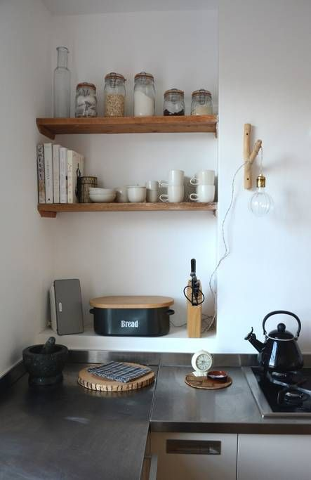Kitchen Detail - Sonos system and mason jars stocked with coffee, tea & sugar