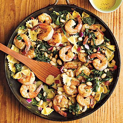 Warm Pasta Salad with Shrimp by Cooking Light. Toss warm pasta with the tangy dressing so it will absorb more flavor. If you prefer to serve this salad chilled, make it up to a day ahead, toss, and refrigerate until you're ready to serve.