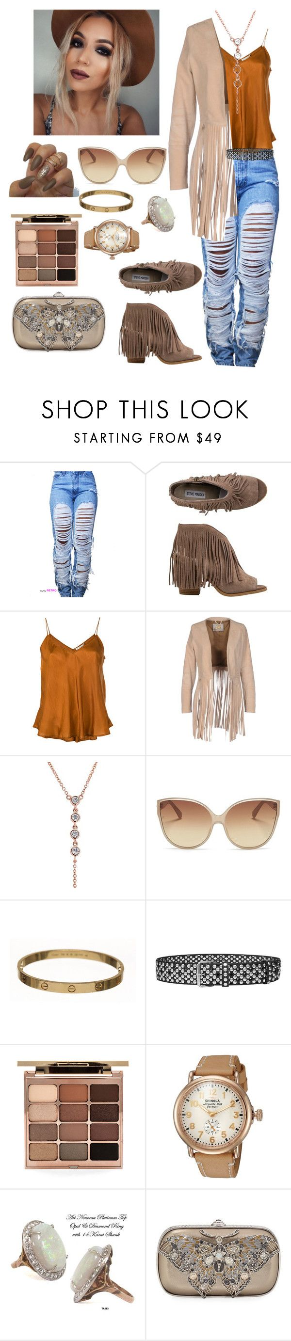 """Fringe"" by joy-chiquita-godboldo ❤ liked on Polyvore featuring Steve Madden, Mes Demoiselles..., VINTAGE DE LUXE, Anne Sisteron, Linda Farrow, Cartier, Faith Connexion, Stila, Shinola and Judith Leiber"