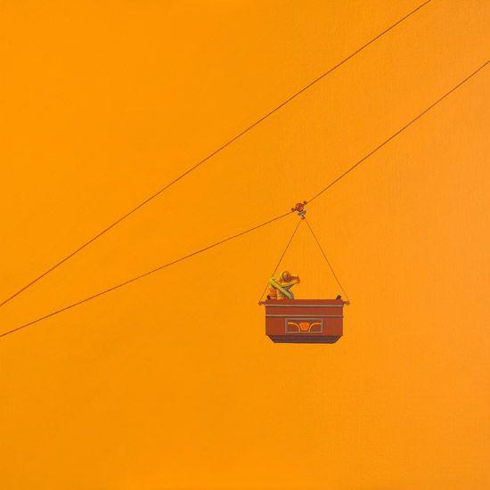 Kabelbaan / Cable transport - 100 x 100 cm - acrylverf op doek / acrylic on canvas -   2011 - verkocht / sold