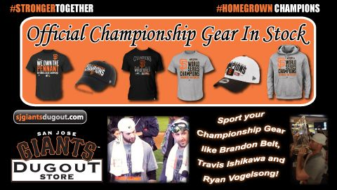 A full stock of authentic San Francisco Giants World Series Champions sweatshirts, t-shirts and hats is available in the San Jose Giants Dugout Store! The #SJGiants Dugout Store is open at Municipal Stadium from 10 AM to 5 PM daily or online at SJGiantsDugout.com!