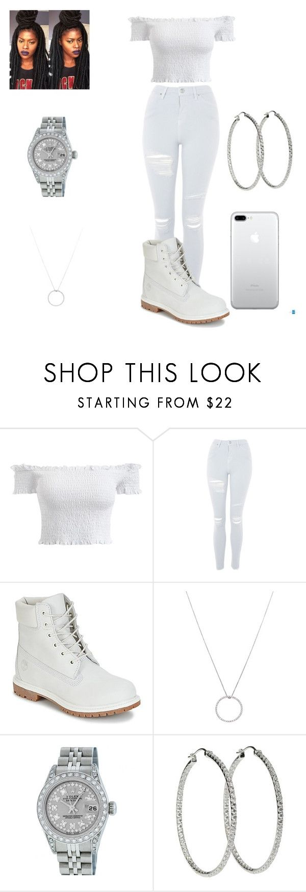 """that girl in all white"" by malachiaewarrenwifeyjunnewarre on Polyvore featuring Topshop, Timberland, Roberto Coin and Rolex"