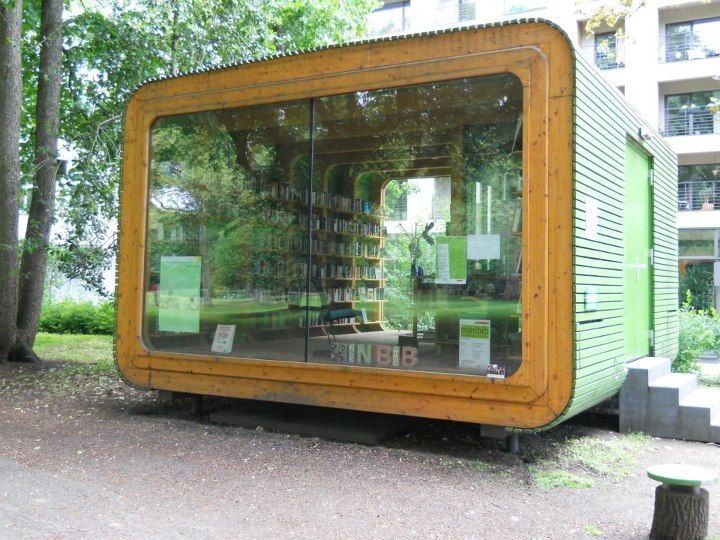 """pop-up,"" mobile, modular library in Stadtgarten, Cologne"