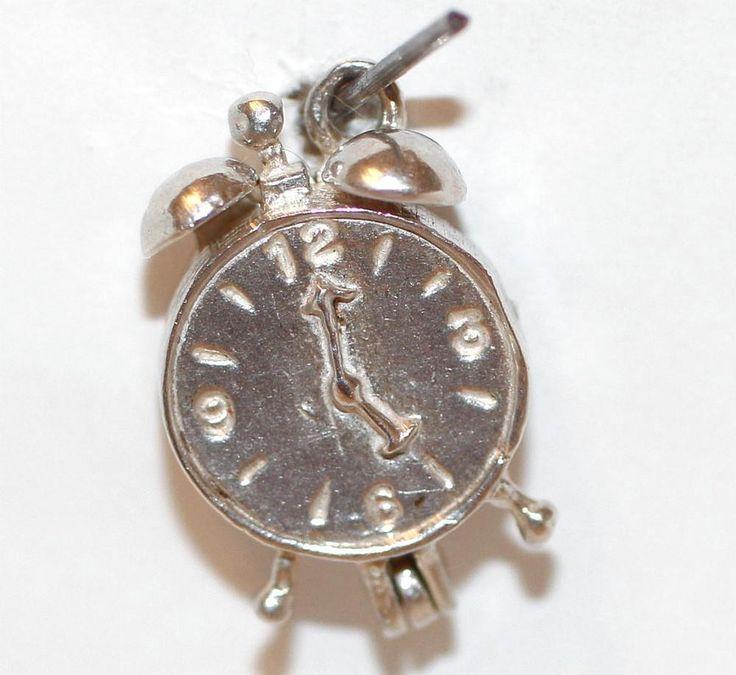 Vintage Sterling Silver Bracelet Charm Alarm Clock Opening To A Rooster  | eBay