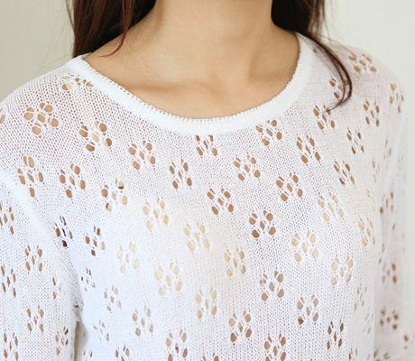 Loveliness of the female clothing shop. [Whitefox] Hello punching knit / Size : FREE / Price : 24.01 USD #korea #fashion #style #fashionshop #apperal  #koreashop #ootd #whitefox #knit #dailylook #punchingknit #basicitem