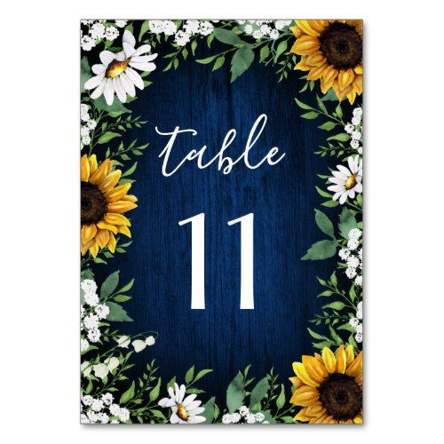 Navy Blue Sunflower Wedding Table Number Cards