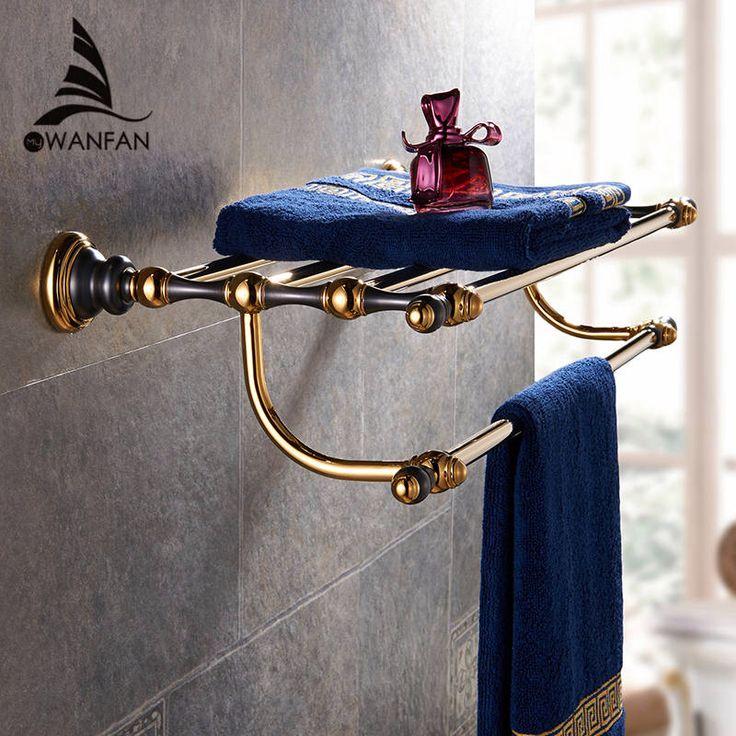 Роскошный золотой латуни Ванной вешалка для полотенец полка Для Полотенец держатель Высокое Качество Банное Полотенце Полки Вешалка Для Полотенец аксессуары для ванной комнаты 66808