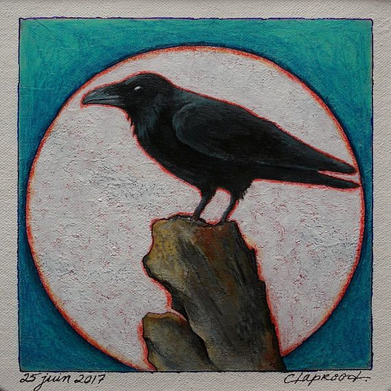Original art black crow painting full moon painting raven