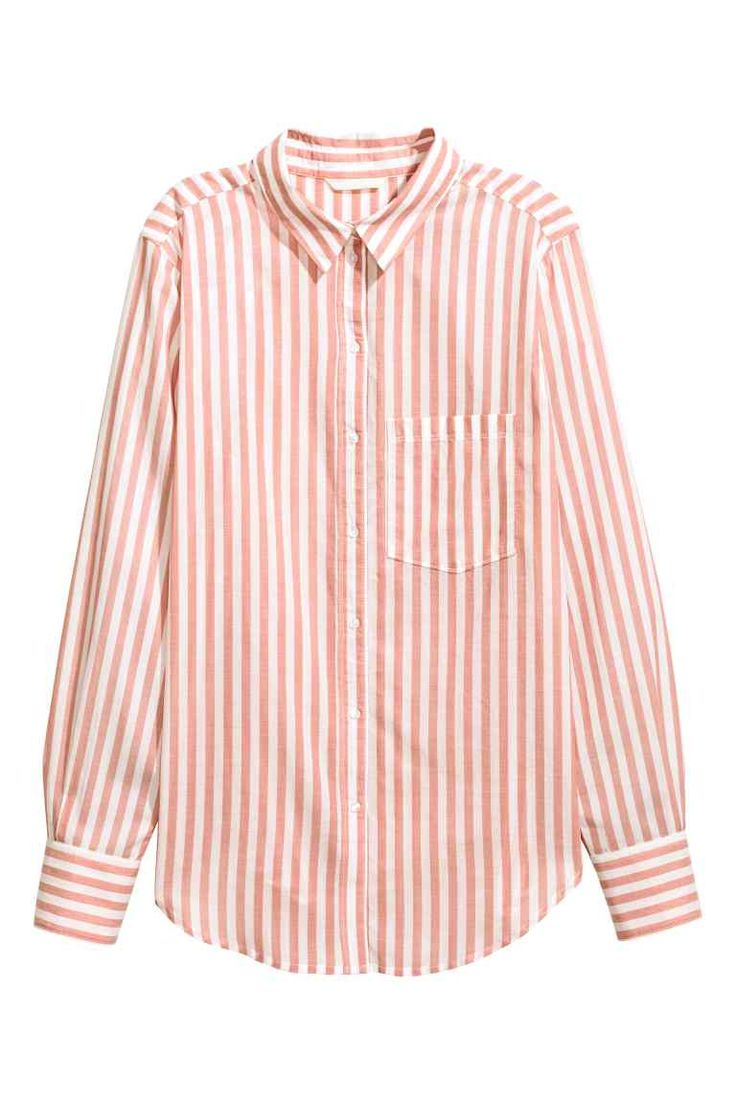 Katoenen overhemdblouse - Poederroze/gestreept - DAMES | H&M NL