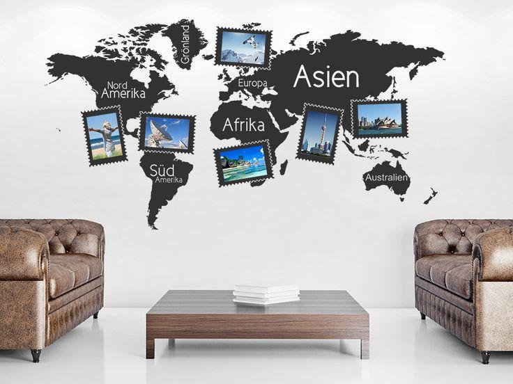 Amazing  Fotorahmen Wandtattoo Weltkarte als weltoffene Wandgestaltungsidee f r die besten Urlaubsfotos Bilder Wandgestaltung