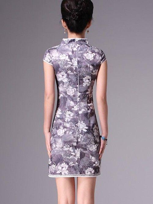 Gray Short Cheongsam / Qipao / Chinese Evening Dress with Lotus Print