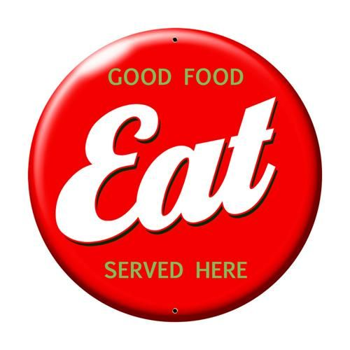 Retro food signs retro eat good food served here large for Plaque metal cuisine