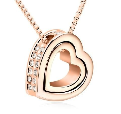 Necklaces Gold heart within a heart pendant - mewe-jewelry.com