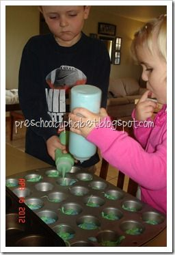Use a squirt bottle for kids to squeeze batter into muffin tins-
