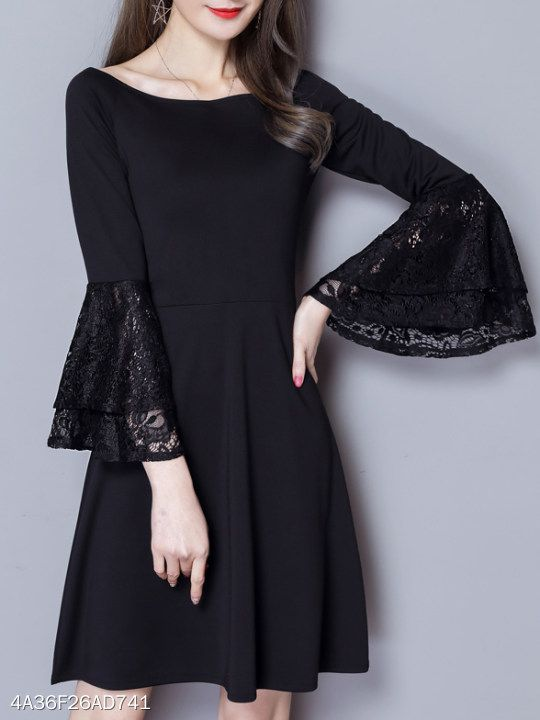 940e91900 Round Neck Lace Skater Dress #dresses #dressesforwomen #afflink #fashion  #blackdresses #lacedresses #lace #womensfashion #partywear