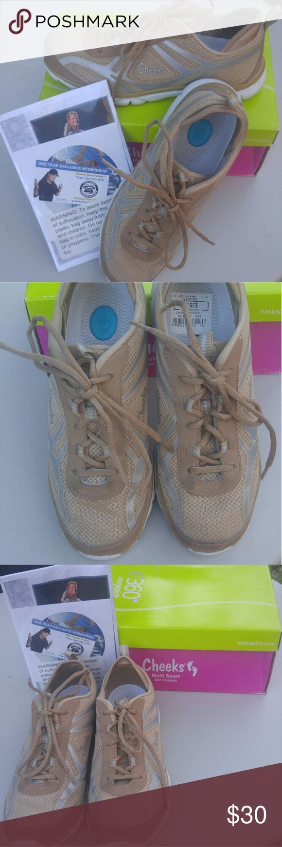 TL CHEEKS MULTI-SPORT HSN CARRIED by the Home Shopping Network these multi-sport shakes come with a free workout CD. They are made for aerobics running walking and many different various Sports. They had the soft gel insoles for comfort built in. Women's size 8 medium they were used as a display so they were tried on by several people this is the only wear that you have no damage and perfect condition. Cheeks Shoes Sneakers
