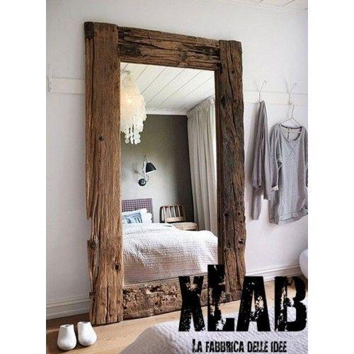 Specchio da terra cornice in legno massello anche su