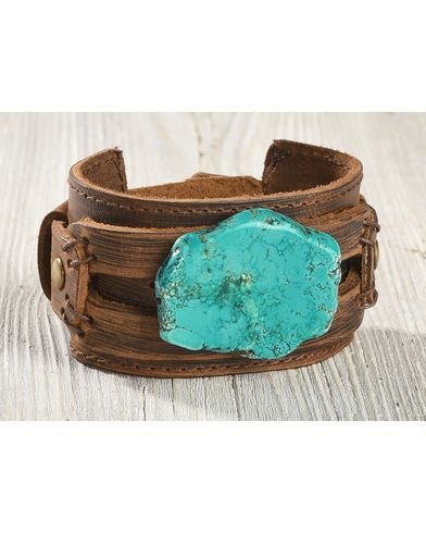 Jewelry Junkie Women's Chunky Turquoise Leather Cuff  - Country Outfitter