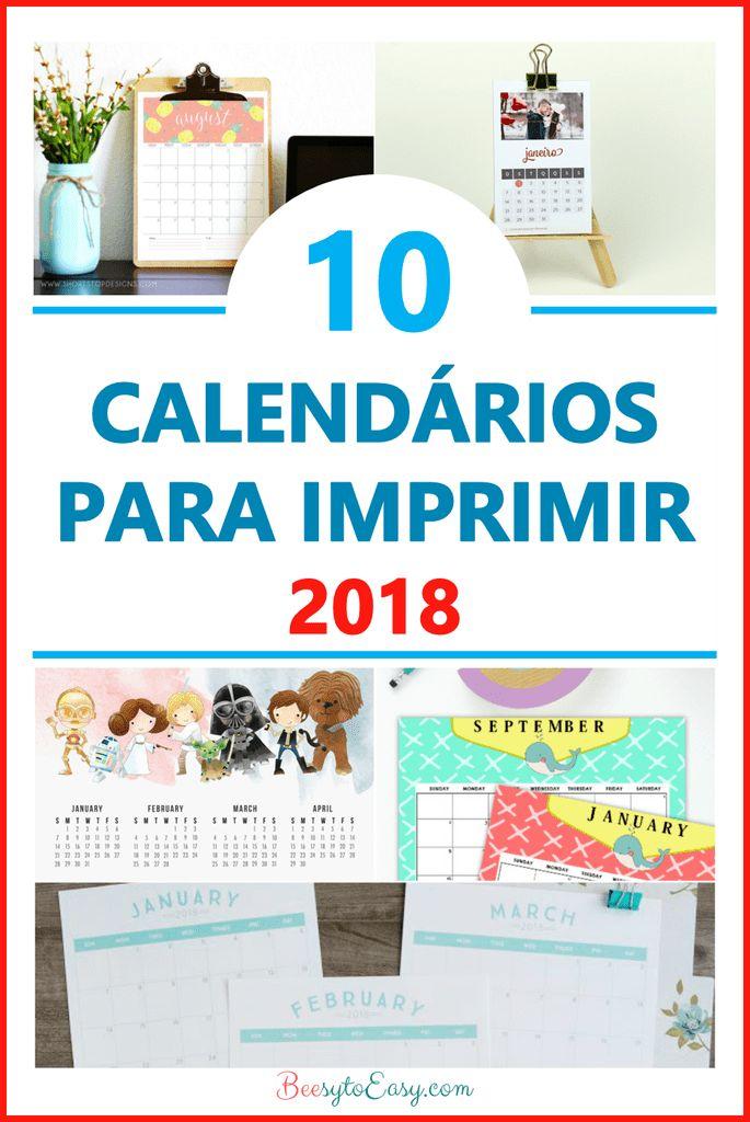 Calendários para imprimir 2018