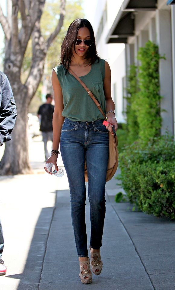 Green + denim + wedges. Wedges are for people who must not walk much cuz it's not happening with me.